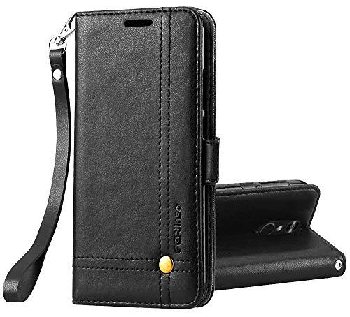 Ferilinso LG Q7/ LG Q7 Plus/LG Q7α Hülle, Elegantes Retro Leder mit Identifikation Kreditkarte Schlitz Halter Schlag Abdeckungs Standplatz magnetischer Verschluss Kasten für(Schwarz)