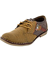 Men's Casual Brown Synthetic Lace-Up Flats Shoe By Shoe Matic