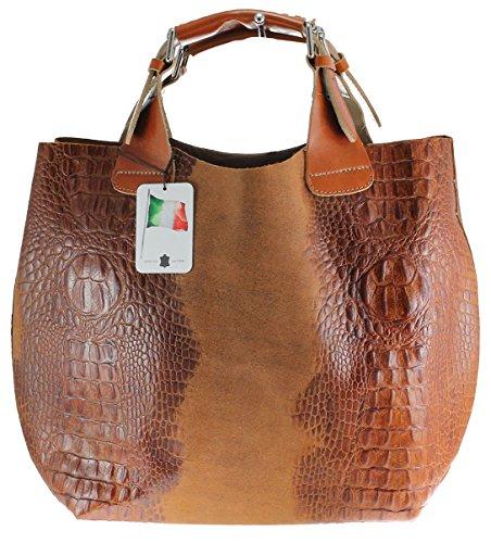 CTM Sac femme Sac à main avec impression ANIMALIER, 44x30x13cm, 100% cuir véritable Fabriqué en Italie
