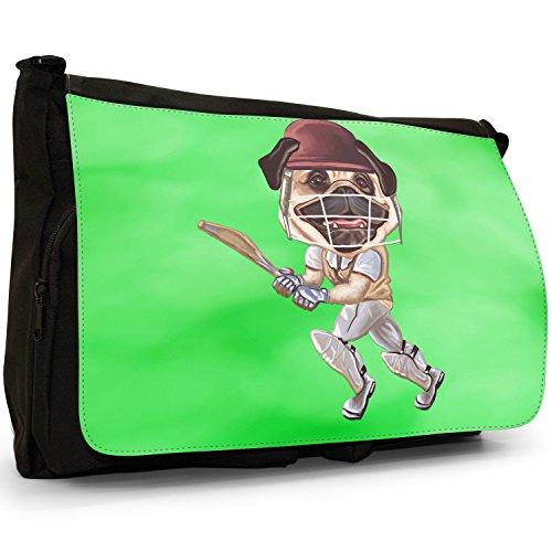 Carlino Sport Atleta Rugby Calcio Tennis–Borsa Tracolla Tela Nera Grande Scuola/Borsa Per Laptop Cricket Pug Playing With Bat