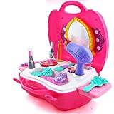 #7: Magnifico™ Kids Pretend Play Make up Case and Cosmetic Set, Durable Beauty Kit Hair Salon with 21 Pcs Makeup Accessories for Children Girls