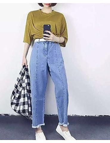 PU&PU Femme Coréen Taille Haute Micro-élastique Jeans Pantalon,Ample Couleur Pleine , blue , l