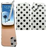 Samrick Étui en cuir à rabat avec protection d'écran, chiffon en microfibre et mini-stylet blanc pour écran capacitif pour Samsung i9300 Galaxy S3/Galaxy S3 LTE 4G Blanc/noir