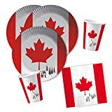 40-teiliges Party-Set Kanada - Teller Becher Servietten für 10 Personen
