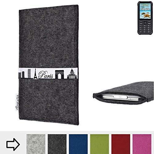 flat.design für Energizer H20 Schutzhülle Handy Case Skyline mit Webband Paris - Maßanfertigung der Schutztasche Handy Hülle aus 100% Wollfilz (anthrazit) für Energizer H20