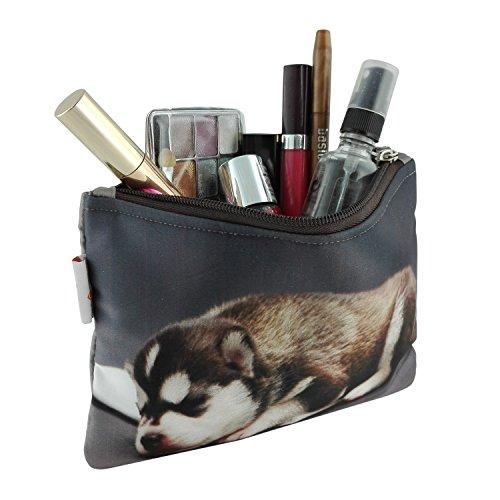 Damen Kosmetiktasche mit Hundebaby Foto-Druck | Schutzpolsterung für Glasflacons | Schminktasche perfekt für Unterwegs & Reisen | Ideale Aufbewahrung in der Handtasche | Kulturbeutel abwaschbar (Handtasche Handtasche Welpe, Hund, Zubehör)