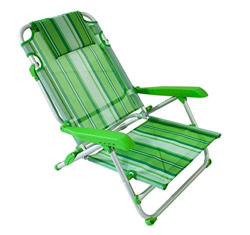Joy summer spiaggina alluminio sedia mare spiaggia con 4 posizioni (verde)