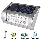 Liqoo Luz Solar Lámpara Jardín Aplique de Pared Exterior PIR Sensor Blanco Frío 6000K sin Cable Impermeable para Jardín Patio Plataforma Escalera
