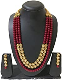 Extra Long RED Bridal Pearl Necklace Earring Jewellery Set For Women