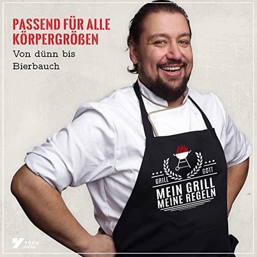 51brexoN41L - YORA Grillschürze für Männer lustig - Mein Grill Meine Regeln - Perfektes Grillzubehör Männer Geschenk