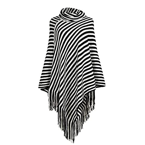 iShine Fashion Schal Frauen Poncho mit Kragen Hochgeschlossen Damen Umhang Elegantes Mädchen Pelerine mit Gestreiftes Schwarz und Weiß Warm für Herbst Winter