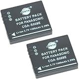 DSTE® 2x S008E de remplacement Li-ion Batterie pour Panasonic CGA-S008A, CGA-S800A/1B, CGA-S800E, CGA-S800E/1B, DMW-BCE10, DMW-BCE10E, VW-VBJ10