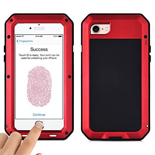 Alienwork Schutzhülle für iPhone 6/6s geeignet für Fingerabdruck Hülle Case Bumper Stoßfest Staubdicht Schneedicht Metall schwarz AP610-01 rot