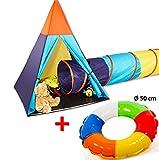 150 cm SPIELZELT mit TUNNEL und 50 cm AUFBLASRING Kinder Indianerzelt Tipi Wigwam Zelt mit 180 cm Kriechtunnel ~yx + D2