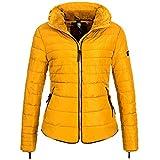 Marikoo AMBER2 Damen Winterjacke Jacke Steppjacke Parka Mantel warm gefüttert 10-Farben XS-XXL, Größe:S / 36;Farbe:Gelb