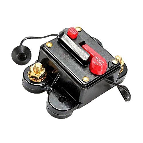 fusible de reemplazo de linea de audio de estereo del automovil de cortacircuitos de 200A AMP de 12V-24VFacil de operar con el brazo de restablecimiento manualRestablecer unico boton pulsador tambien puede ser utilizado como un interruptor.Alta tecno...