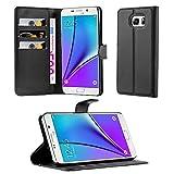 Cadorabo Hülle kompatibel mit Samsung Galaxy Note 5 Hülle in Phantom SCHWARZ Handyhülle mit Kartenfach & Standfunktion Schutzhülle Etui Tasche