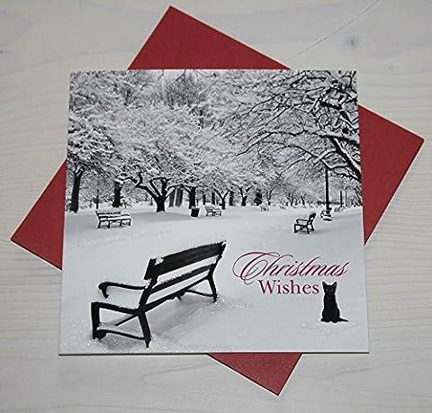 Weihnachtskarte - Frosty Morning - Katze - Christmas Wishes (Katze Weihnachtskarten)