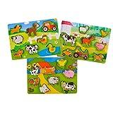 KIDS TOYLAND Monde des Animaux Ferme Puzzles en bois pour les tout-petits et les enfants - 3 Puzzles différents - Jouet éducatif adapté pour les 3 ans et plus (26 pcs)...