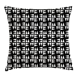 VICKKY Geometric Throw Pillow Cushion Cover, Triangle Shapes Mosaic Style Tiling on Dark Toned Background Abstract Design, Decorative Square Accent Pillow Case, 18 X 18 Inches, Black Ivory