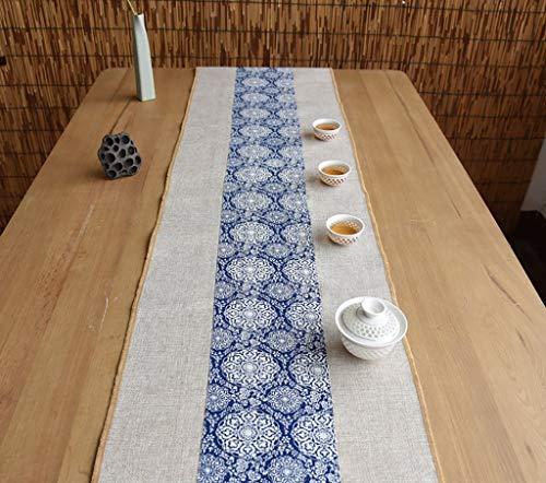 XQY Home Tischdecke, Tisch Rechteckige Tischdecke, Hotel Restaurant Tischdecke, Signature Cotton Tischläufer Buddhist Mood Tea Tischkissen Ethnischen Stil Tischfahne Bettläufer Blaue Blume - Mittlere Rechteckige Couchtisch