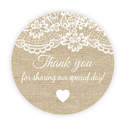 Ekunstreet 48x thank you for sharing sticker lace and burlap effect wedding favour stickersrustic envelopes sealsmason jar labelssweet box favour