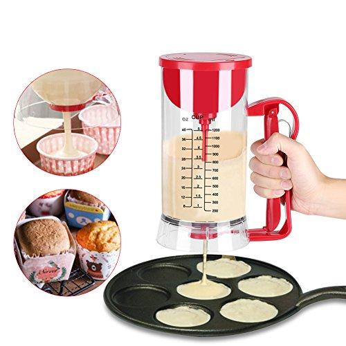 Dispensador Masa Cupcakes, Herramienta para Dispensador de Masa de Magdalenas Ideal para Pasteles, Galletas, Cakes & Belgian Waffles con Etiqueta de Medición, 1200ML