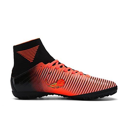 ASHION Kinder Fußball Stiefel Microfaser Cleats Teenager Training Schuh Orange