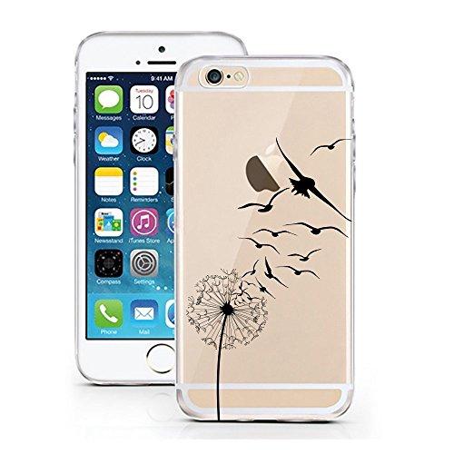 Blitz® PUSHER 2 motifs housse de protection transparent TPE iPhone Pooow M10 iPhone 4 Pissenlit Hirondelles M15