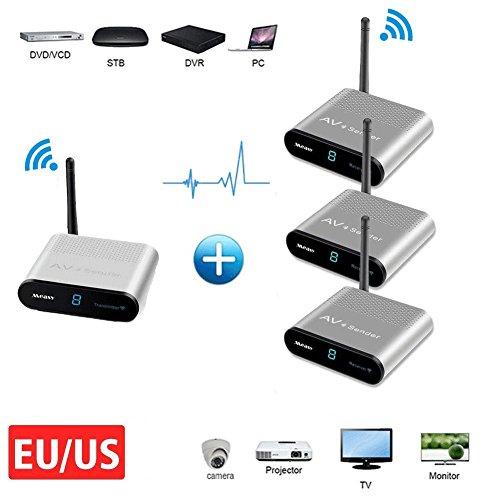 TV Sender Measy AV530-3 Wireless AV Sender 5.8G 8 Kanal 1 Sender 3 Empfänger für Monitor, CCTV-Kamera, RCA-Extender, Tagungsraum (1 x 3 Übertragung 300M / 1000FT)