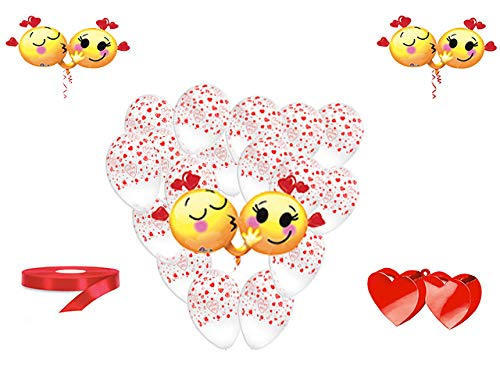San valentino pallone foil cuore supershape forma cuore kit bouquet centrotavola festa amore innamorati - cdc - (1 pallone supershape emoticons,10 palloncini, 1 pesetto,1 nastro rosso )