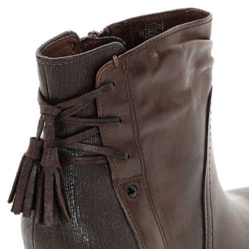 ALESYA by Scarpe&Scarpe - Stiefeletten mit Absatz aus zwei Materialien mit Quasten, Leder, mit Absätzen 8 cm Braun