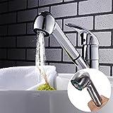 Prevently Wasserhahn Duschkopf Wasser Bad Home Badezimmer Pull-Duschkopf Wasserhahn Küchenarmatur Einhebelmischer Wasserhahn Sink Mixer mit Ausziehbrause (Silber)