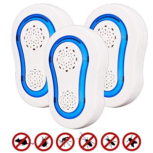 GLXQIJ Ultraschall Elektromagnetische SchäDlingsbekäMpfungsmittel Elektronische Kontrolle Smart Bug Repeller Plug In Home Indoor,3Pack -