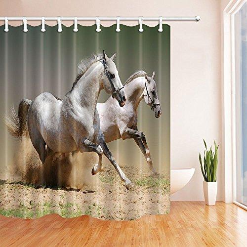 nyngei 3D Digital Druck Tiere Decor weiße Pferde laufen in der Staub Duschvorhang Schimmelresistent Wasserdicht Badezimmer Dekorationen Vorhänge Badewanne Haken enthalten 179,8x 179,8cm - Runde Druck-vorhang Rod