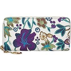 styleBREAKER Geldbörse mit Blumen, Blüten und Blätter Stickmuster, Reißverschluss, Portemonnaie, Damen 02040105, Farbe:Weiß-Lila