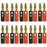 Yahee 20 Stück Bananenstecker Stecker 4mm mit Schrauben vergoldet für lautsprecher Kabel, Schwarz + Rot