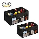 CMYK 2 Stück Kofferraumtasche, Faltbare Auto Trunk Organizer Aufbewahrungsbox mit 2 Großen Fächern und 3 Seitentaschen für Auto, SUV, Truck, Minivan