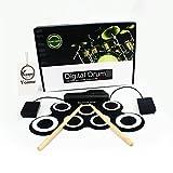 Yoome Electronic Roll Up MIDI Drum Kit, Fußpedale, Drumsticks und Netzteil für Kinder Anfänger/Drum Anfänger/Drum Amateure (ohne eingebauten Lautsprecher)