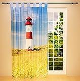 Clever-Kauf-24 Schlaufenschal Vorhang Gardine Leuchtturm BxH 145 x 245 cm | Sichtschutz | Lichtdurchlässiger Schlaufenvorhang zur Dekoration