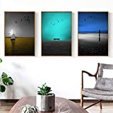 YDGG Modern Seaside Landscape Canvas Painting Art Typographic Poster Picture Bedroom Living Room Decor-50x70cmx3 pcs no frame