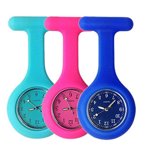 Schwesternuhr Ansteckuhr FOB, Glow Pointer im Dunkeln, Silikonband mit Pin/Clip, Taschenuhr für Health Care Arbeiter, Krankenschwester-Doktor FOB-Uhr Damen Silikon (3 Stück,Blaue Rose Navy)