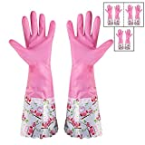 #5: HOKIPO Reusable PVC Kitchen Gloves, Free Size, Forearm Length, 3 Pair.