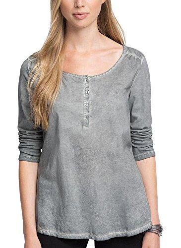 edc by ESPRIT Women's Im Henley Stil T-Shirt, Grey (GUNMETAL 015), 42 (Manufacturer size: X-Large)