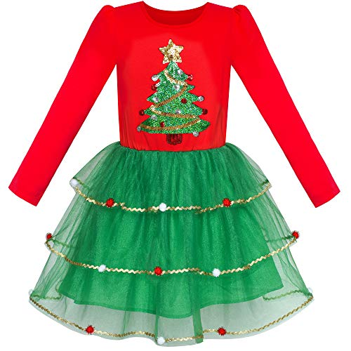 Sunboree Mädchen Kleid Weihnachten Baum Lange Ärmel Jahr Party kleiden Gr. 146