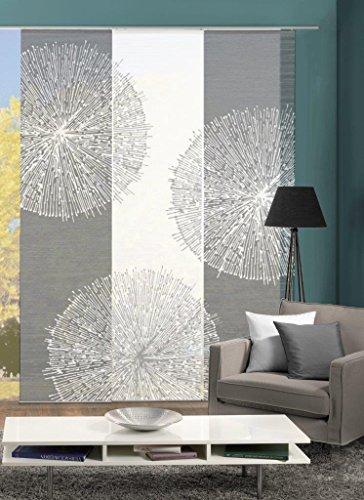 Vision S 88757-6007 | 3er-Set Schiebegardine CROSTON | halb-transparenter Stoff in Bambus-Optik | 3X 260x60 cm | Farben: Grau + Stein