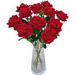 Calcifer 10 Stiele 50 cm Exquisite Biber Rose Blumen Blumenstrauß für Haus Garten Hochzeit Party Dekoration rot