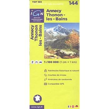 Annecy, Thonon-les-Bains (France, Alpes, Haute-Savoie) 1:100.000 randonnée topographique, le cyclisme et la carte routière IGN n ° 144