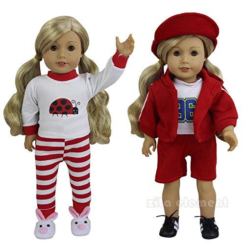 k Sportlich Puppenkleidung für 45cm 46cm Babypuppen und 18 Zoll American Girl Dolls Freizeitkleidung Outfit Puppe Bekleidung Kapuzenmantel Oberteil Hosen Mantel (Gehirn Hut Kostüm)