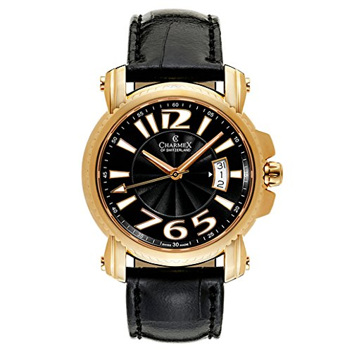 Charmex Berlin Homme 42mm Noir Cuir Bracelet Date Montre 2511